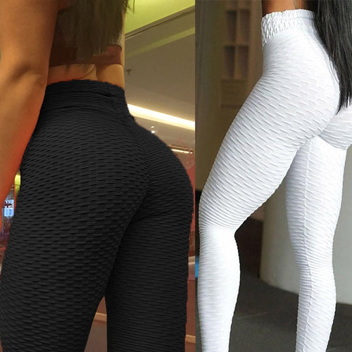 Women's Ankle Length High Waist Anti-Cellulite Sports Leggings with Scrunch Back