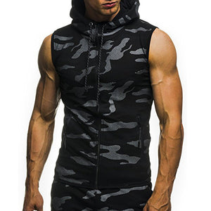 Men Sleeveless Camouflage Hooded Vest