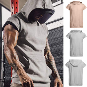 Men's Hooded Workout Short Sleeve Workout Vest