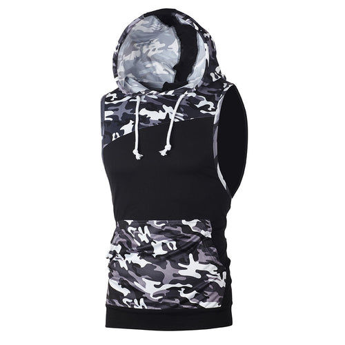 Men's Camouflage Sleeveless Hoodie Vest - Tank Top
