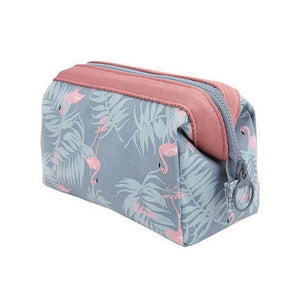 Animal Flower Print Waterproof Makeup Bag - Compact Toiletry Travel Bag