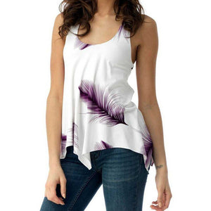 Women's Sleeveless Top Feather Print Tank Top