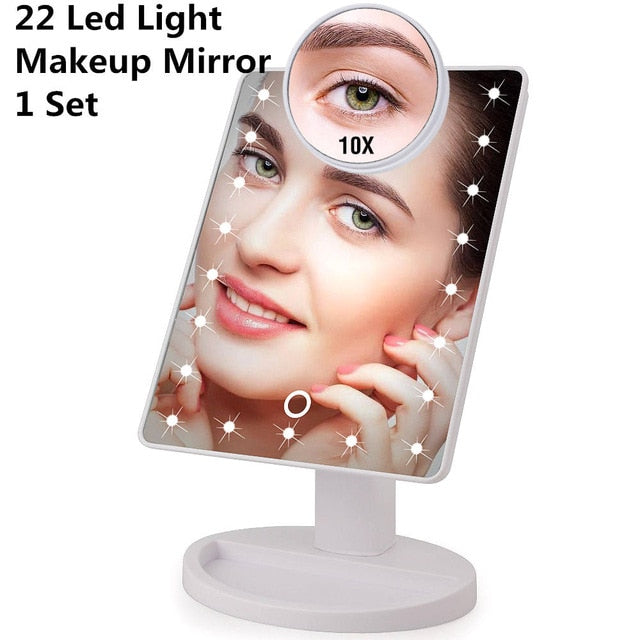 LED Touch Screen, Adjustable Countertop 180 Rotating, Vanity Makeup Mirror - 16/22 LED Lights