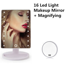 Load image into Gallery viewer, LED Touch Screen, Adjustable Countertop 180 Rotating, Vanity Makeup Mirror - 16/22 LED Lights