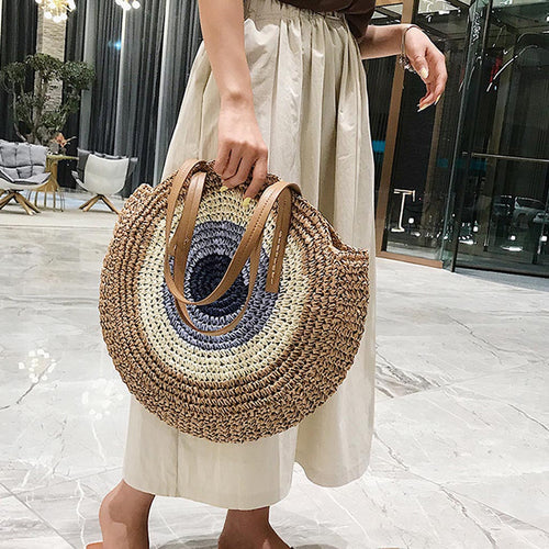 Women's Round Summer Straw Bags - Cross Body Hand-Woven Bali Bags