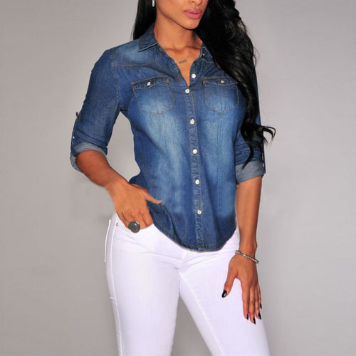 Women Lapel Button Down Blue Denim Jean Shirts with Pocket - Slim Fit Blouse