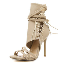 Load image into Gallery viewer, YahzaLaced up Gladiator-Beige Affordable Heels, Boots and Sneakers
