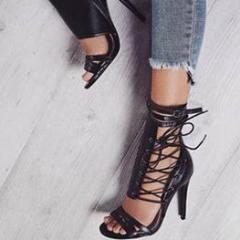 YahzaLaced up Gladiator-Black Affordable Heels, Boots and Sneakers