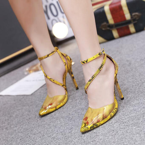 YahzaSexy Snakey-Yellow Affordable Heels, Boots and Sneakers