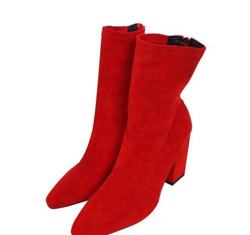 YahzaFaux Suede-Red Affordable Heels, Boots and Sneakers