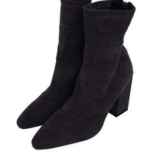 YahzaFaux Suede-Grey Affordable Heels, Boots and Sneakers