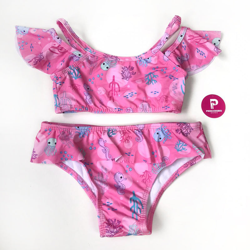 CONJUNTO INFANTIL BABADO FUNDO DO MAR ROSA