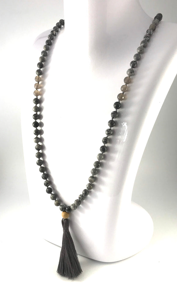Calm Tassel Necklace - Long Beaded Agate Mala Necklace