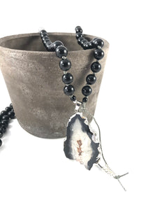Obsidian and Agate Slice Charm Mala Necklace