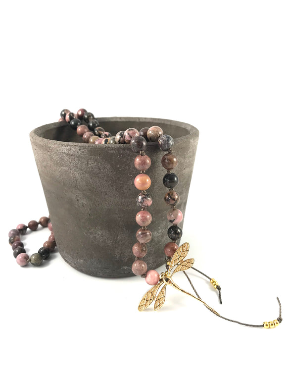 Dragonfly Rhodonite Charm Mala Necklace