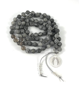 Calm Charm Mala - Agate Angel Wings Charm Mala
