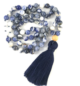 Blue Sodalite Long Tassel Mala - Believe Collection