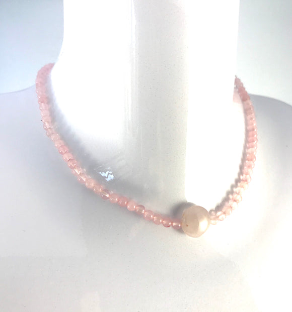 Rose Quartz Necklace - Lava Diffuser Necklace