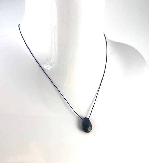New - Blue Sodalite Silk Pendant Necklace
