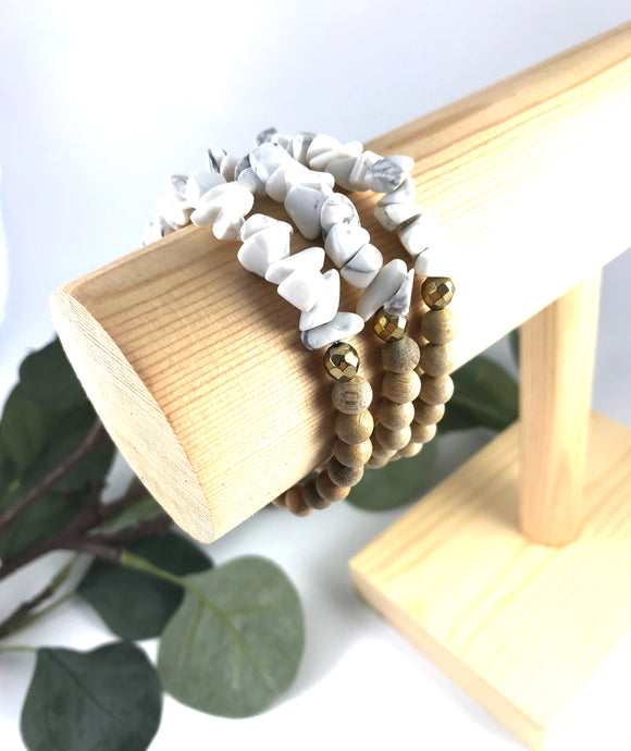 Coast - Howlite and Hermatite Chip Diffuser Bracelet