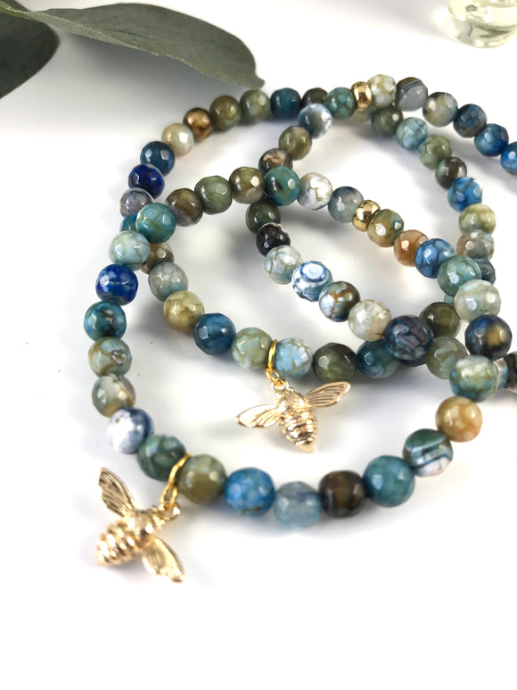 Bee Charmed Teal - Natural Agate Crackle Bracelet