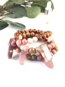 Strawberry Fields - Strawberry Quartz and Rhodonite Diffuser Bracelet