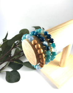Seascape - Agate and Jade Oil Diffuser Bracelet