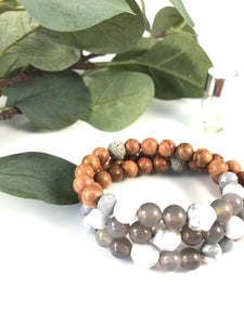 Moon - Agate and Howlite Diffuser Bracelet