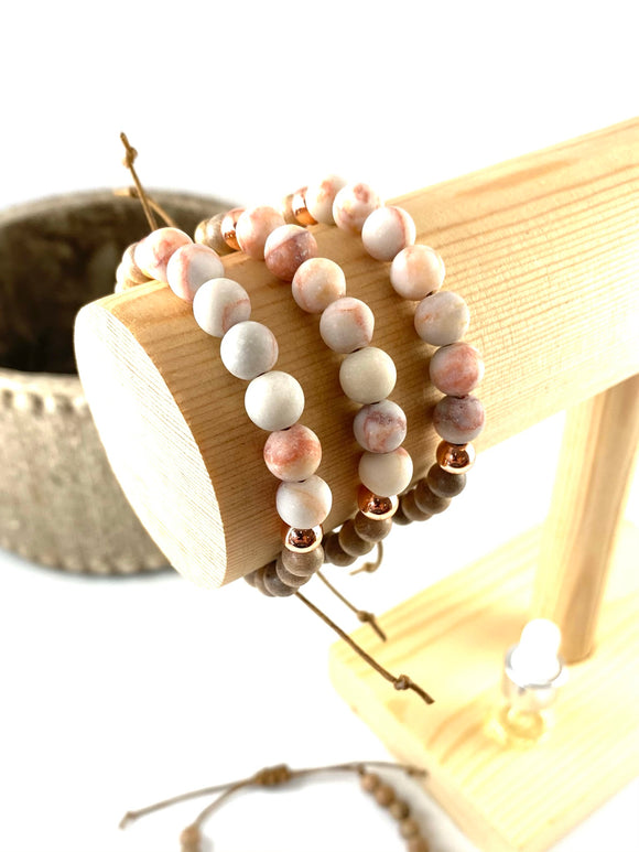 Apricot Stone Diffuser Bracelet with Hematite