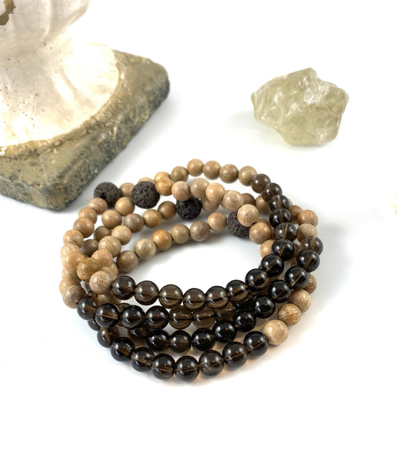 Smoky Quartz Mini Diffuser Bracelet