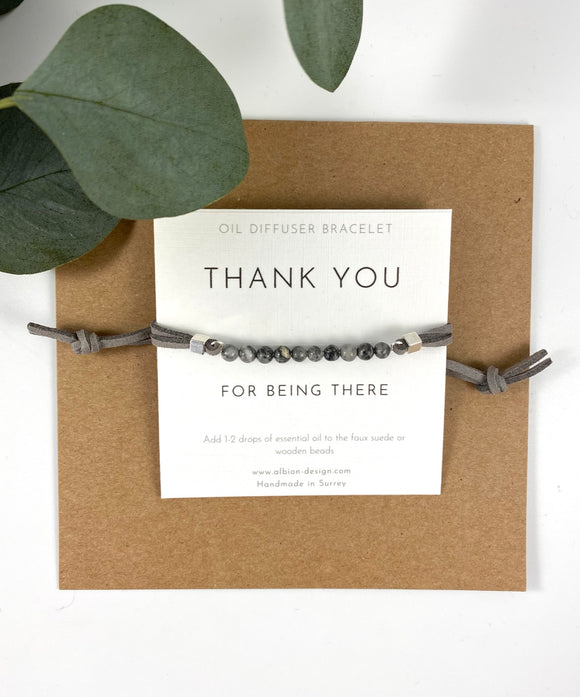 Thank You For Being There - Oil Diffuser Bar Bracelet