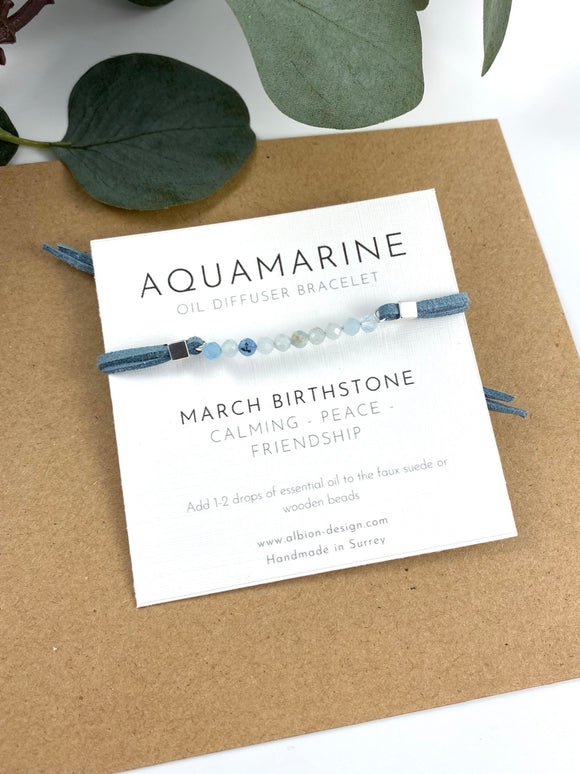 Aquamarine - March Birth Stone - Gemstone Diffuser Bracelet
