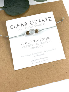 Clear Quartz - April Birth Stone - Mini Oil Diffuser Bracelet