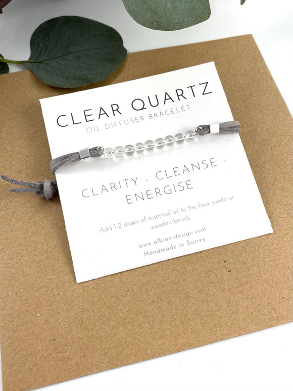 Clear Quartz - Gemstone Diffuser Bracelet