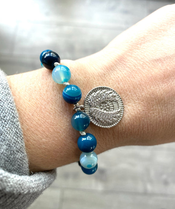 Teal Agate Crystal Angel Bracelet