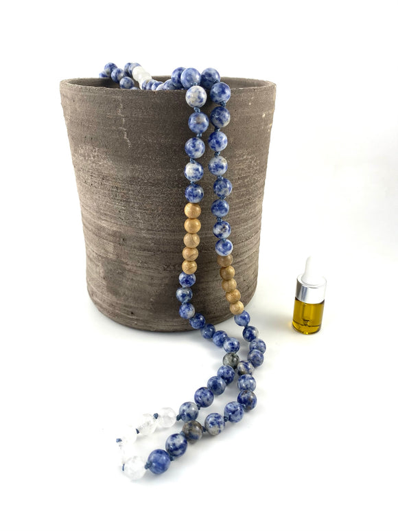 Blue Spot Jasper Crystal Mala Diffuser Necklace