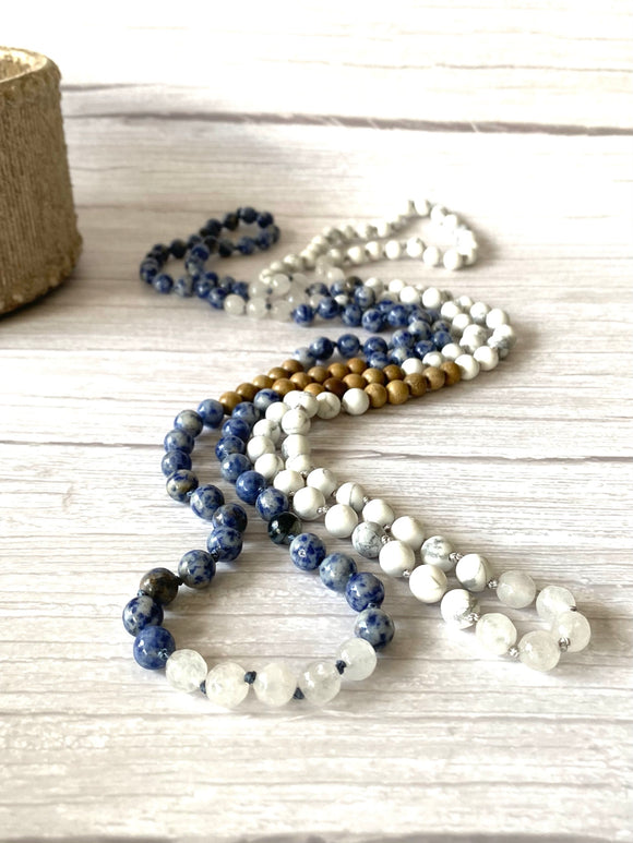 Howlite Crystal Mala Diffuser Necklace