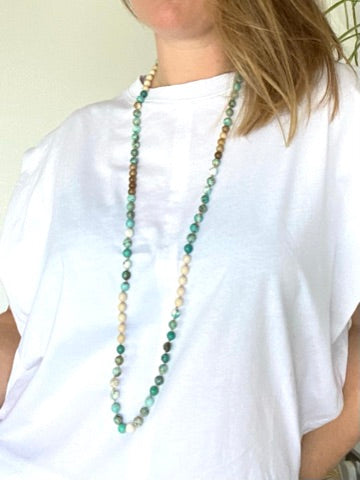 Turquoise Crystal Mala Diffuser Necklace