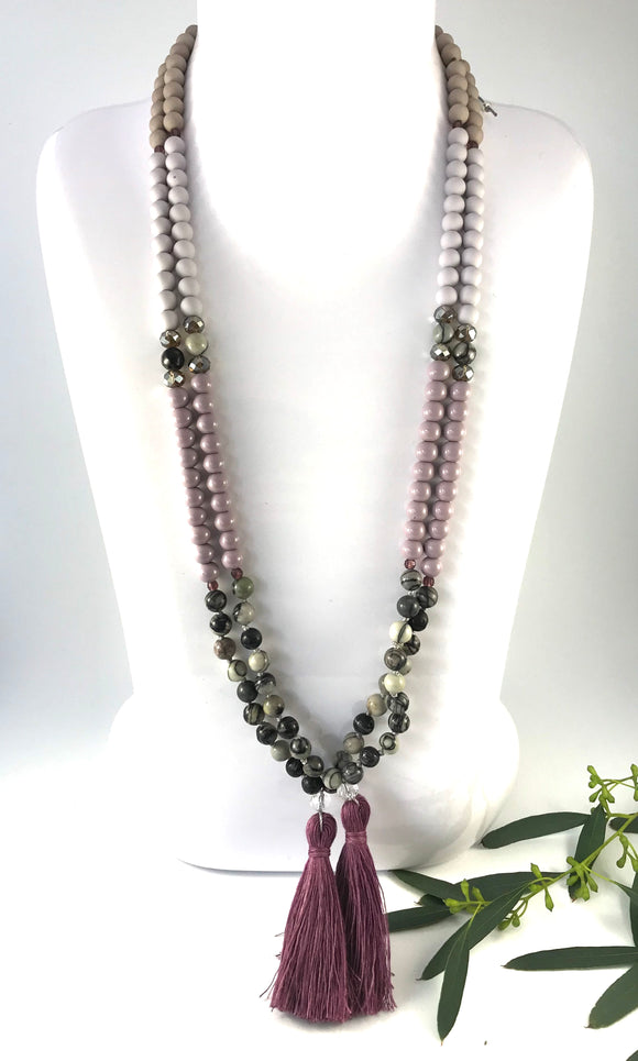 Dusky Moon - Silkstone Tassel Necklace