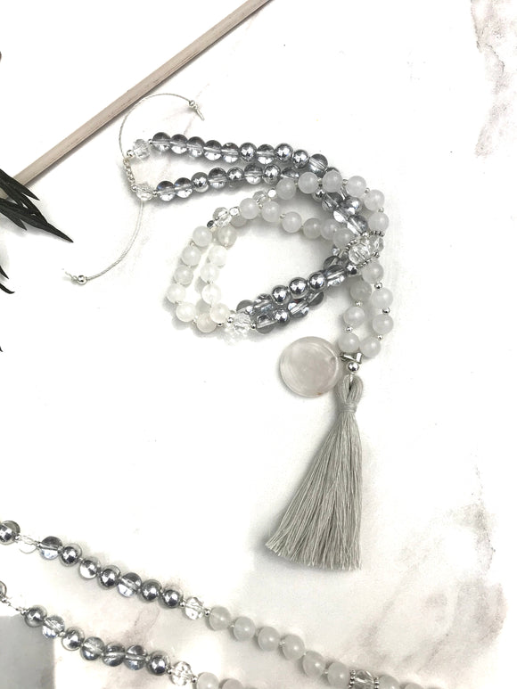 Ice - Jade White Long Beaded Tassel Necklace