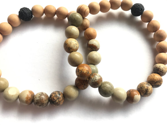 Earth Oil Diffuser Bracelet with Agate and Thuja Wooden Beads