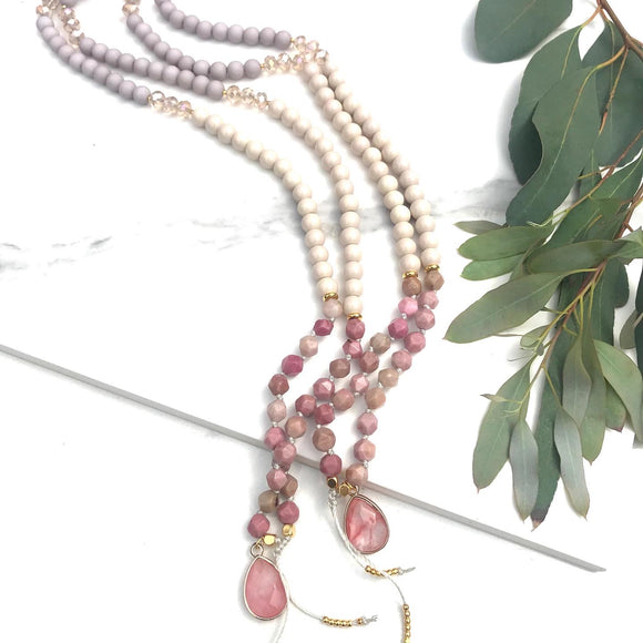 Thelma - Rhodonite Beaded Charm Necklace