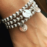 Initial Bracelet - Silver Plated Beads
