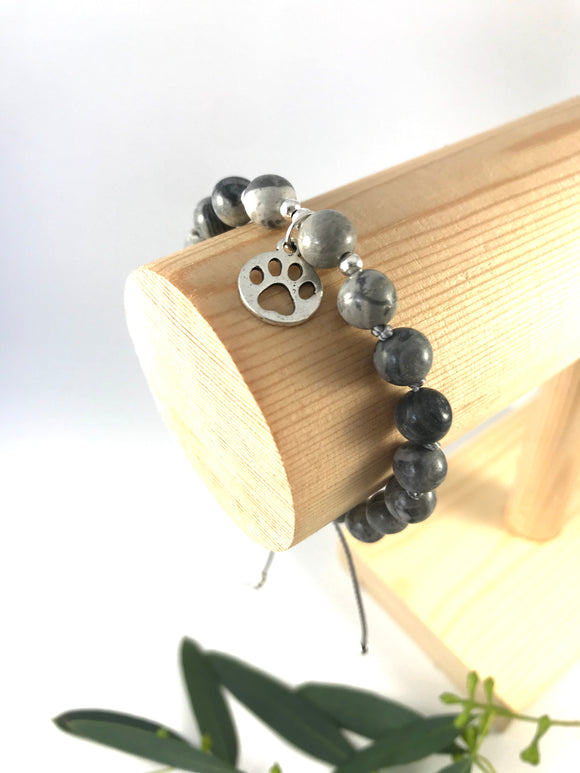 Silver Paw Anthracite Bracelet