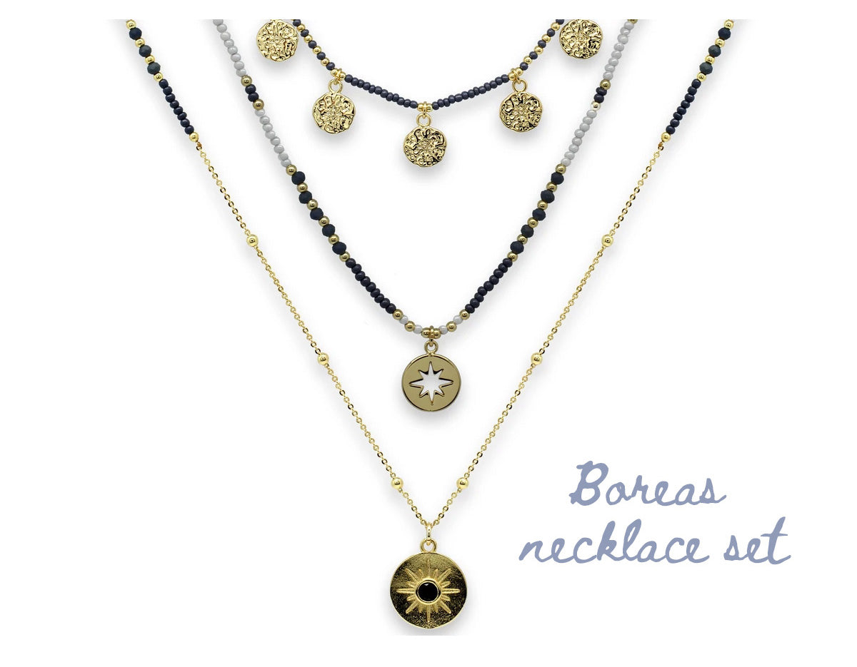 Boreas Necklace set in Navy and Gold