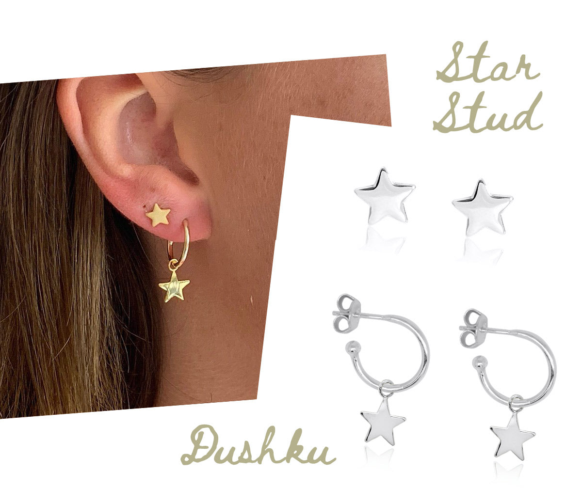 Dushku Sterling Silver Star Hoop Earrings