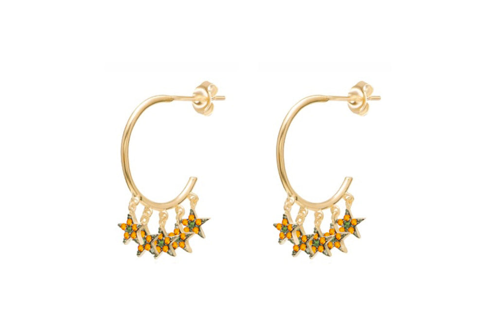 Stenberg CZ Gold Amber Multi Star Hoop Earrings