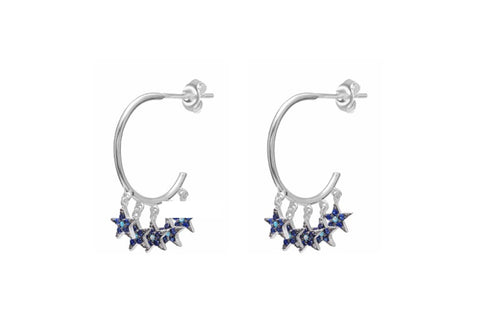 Stenberg CZ Silver Blue Multi Star Hoop Earrings