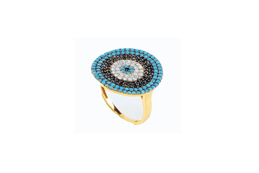 Goulding CZ Gold Blue Beaded Ring