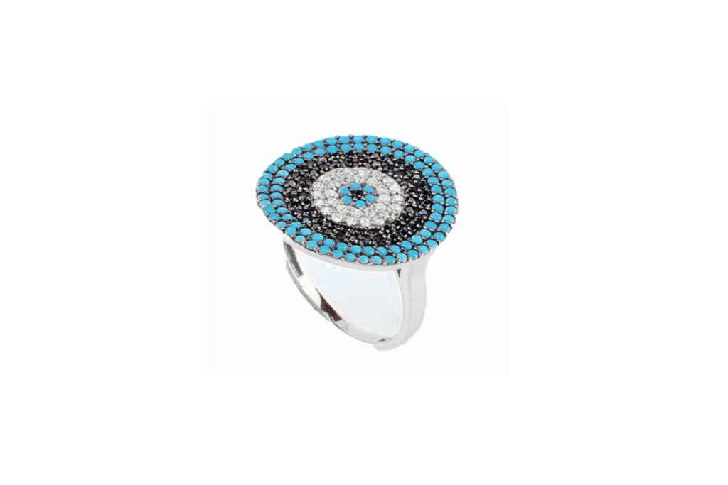 Goulding CZ Silver Blue Beaded Ring
